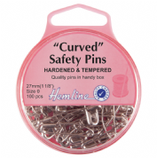 Hemline Curved Safety Pins - 27mm long - Nickel - Pack of 100